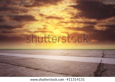 summer sunset time and hot runway space