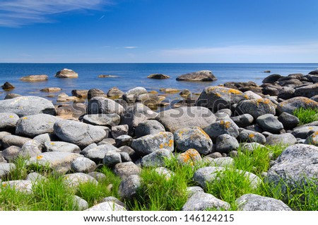 Summer Swedish coast in sunny day - stock photo