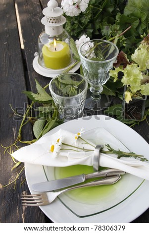 Summer table setting in country house look - stock photo