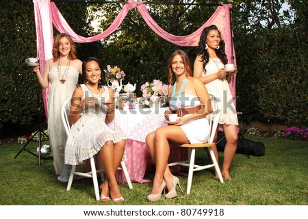 Summer Tea Party with Friends - stock photo
