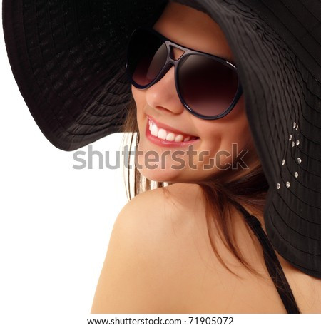 summer teen girl cheerful in panama and  sunglasses enjoying isolated on white background