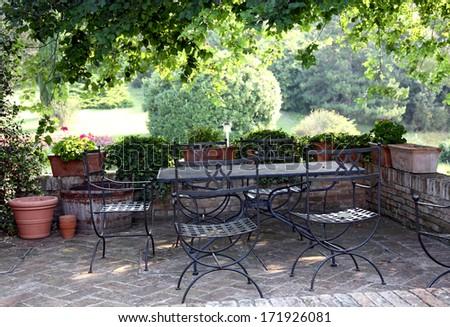 Summer terrace Italy - stock photo