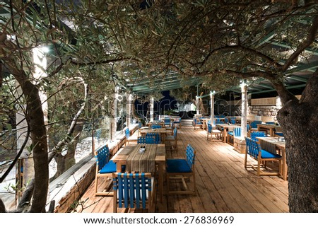 Summer terrace of restaurant - stock photo