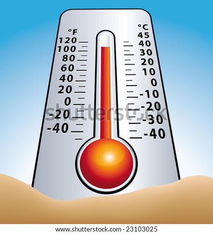 Summer thermometer  in sand greenhouse effect