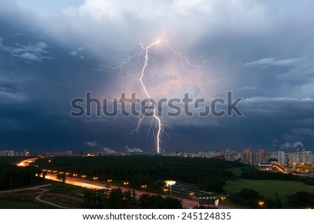 Summer thunderstorm with lightning over Moscow, Russia - stock photo