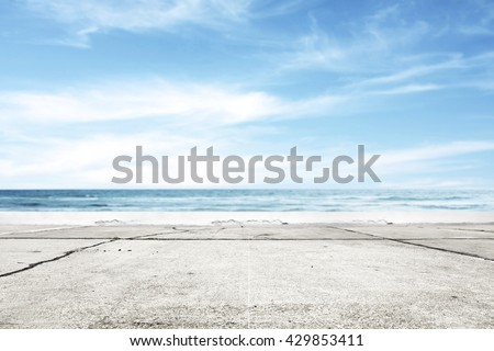 summer time and blue sky and road and sea  - stock photo