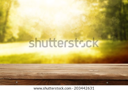 summer time and desk of brown color  - stock photo