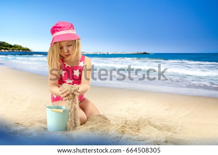 Summer time and girl on beach
