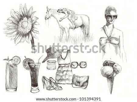 Summer time and love collection 1 - hand drawn pictures (black marker - original picture). - stock photo