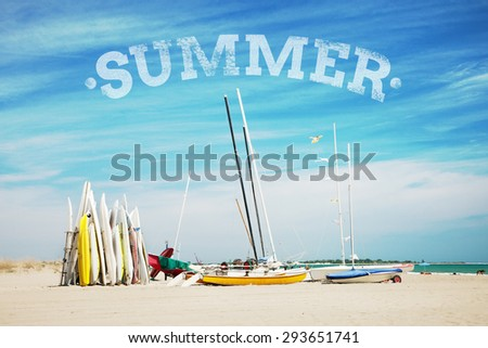 Summer time background with text  - stock photo