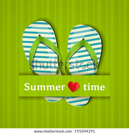 Summer time. Card with flip flops. Raster illustration. - stock photo
