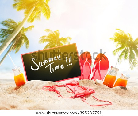 Summer Time Day Beach Seashore Accessories Palm Sand Juice Bikini Slippers Board Chalk Holiday Concept - stock photo