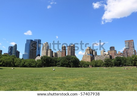Summer Time in Central Park and Manhattan Skyline, New York City