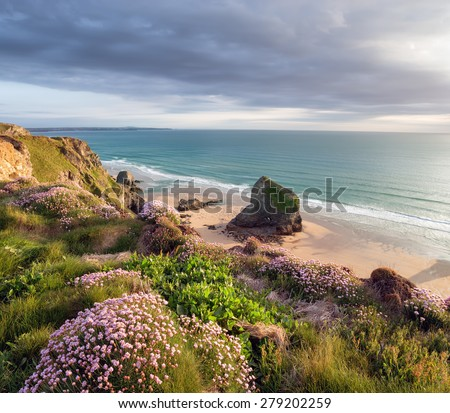 Summer time in Cornwall with sea thrift in bloom on cliffs above Bedruthan Steps on the South West Coast Path between Padstow and Newquay - stock photo