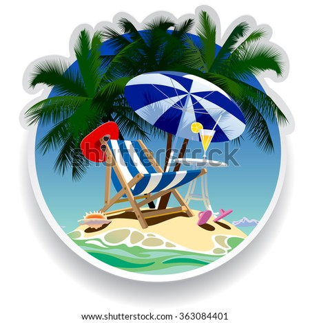 Summer time paper label with tropical island, beach chair, umbrella and table under the palms. - stock photo
