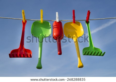 Summer time representation of beach toys for children - stock photo