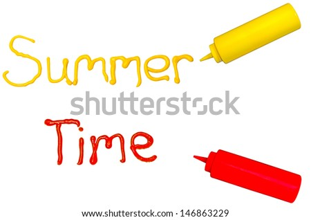 Summer time.  The words summer and time written in cursive with mustard and ketchup. - stock photo
