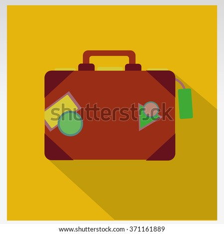 Summer time -Travel bag and straw hat - stock photo