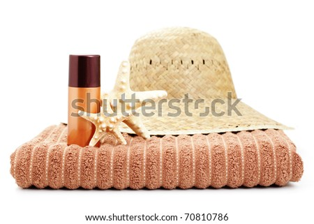 summer time with suntan lotion on white - beauty treatment - stock photo