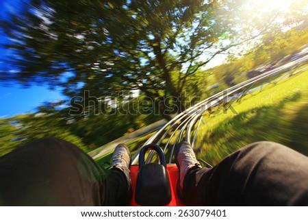 Summer toboggan-run from inside - stock photo