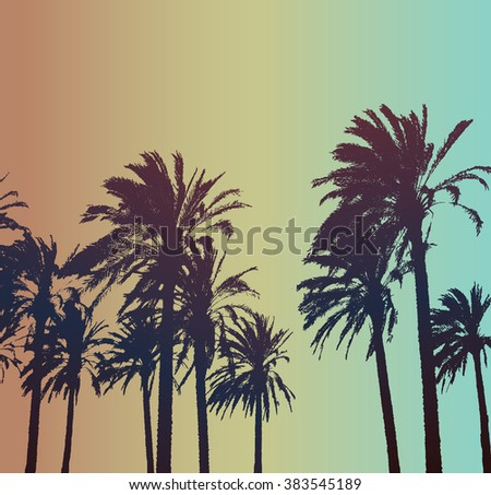 Summer Travel Background with Palms .  Exotic Print for T-shirt.
