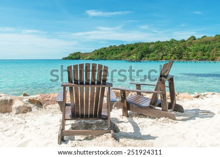 Summer, Travel, Vacation and Holiday concept - Beach chair on the beach in sunny day , Phuket Thailand - stock photo