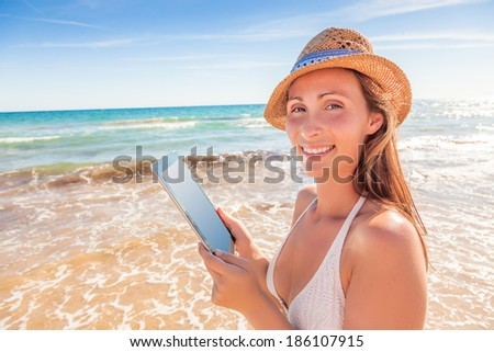 summer travel with online booking - stock photo