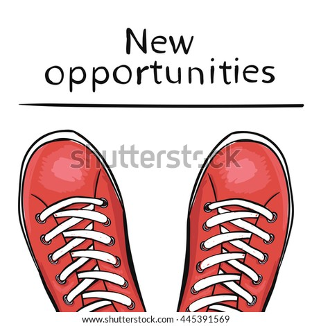 Summer trendy sports shoes. Feet in athletic shoes sneakers before feature new opportunities. The business concept. illustration