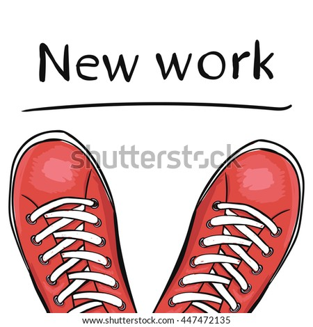 Summer trendy sports shoes. Feet in sport shoes the sneakers before you select a new job. illustration