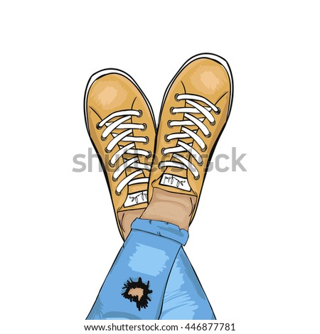 Summer trendy sports shoes. Feet in sports shoes sneakers. Man in torn jeans and sneakers resting.  illustration - stock photo