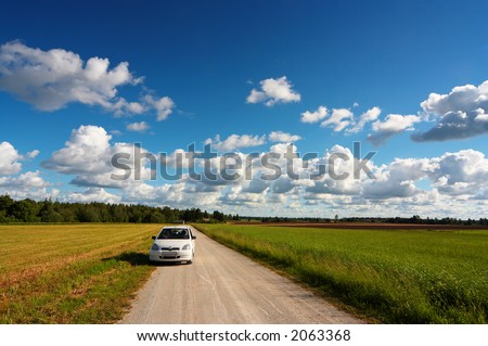 summer trip to countryside - stock photo