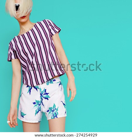 Summer tropical Clothing. Fashion lady. Beach style - stock photo
