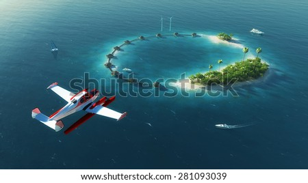 Summer tropical island. Small sea airplane flying above private paradise tropical island with wind turbines energy and  bungalows - stock photo