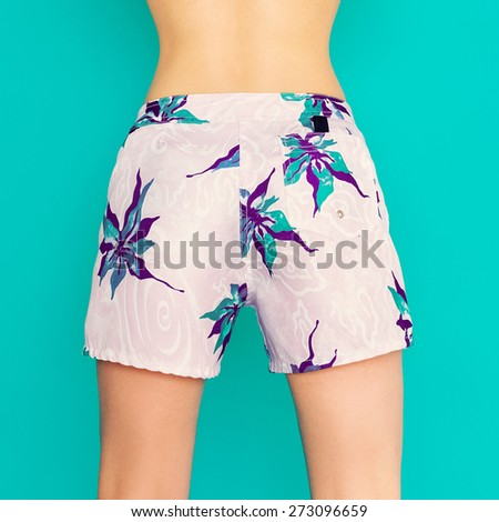 Summer tropical Shorts. Fashion Lady. Vacation style - stock photo