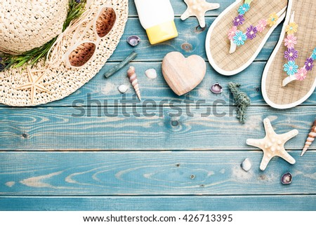 Summer vacation background with beach accessories - stock photo