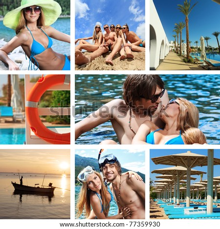 Summer vacation collage: rest on a beach. - stock photo