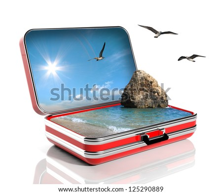 Summer vacation concept. Travel suitcase with seascape inside - stock photo