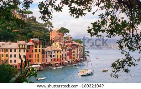 Summer vacation in Portofino - stock photo