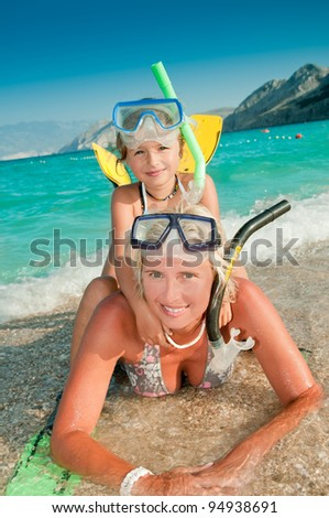 Summer vacation - snorkeling with mother