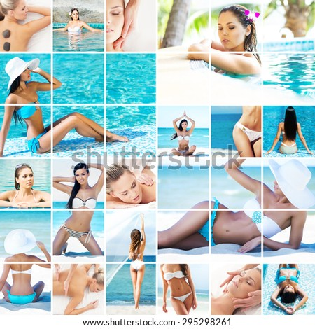 Summer vacation, traveling, rejuvenation and spa collage. Young women relaxing on a resort at summer.