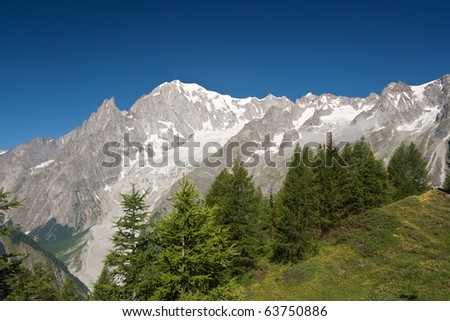 summer view Mont Blanc from Ferret valley, Courmayeur, Italy.