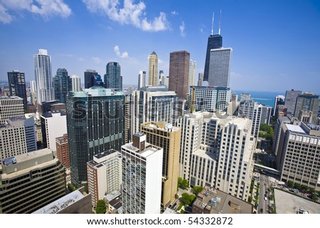 Summer view of Chicago skyscrapers from the height of 40Th floor. - stock photo