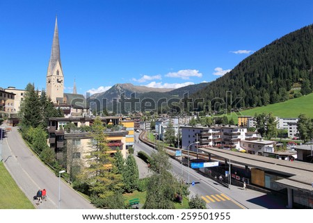Summer view of Davos, famous Swiss skiing resort - stock photo
