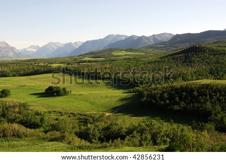 Summer view of meadows, forests and mountains in waterton lakes national park, alberta, canada - stock photo