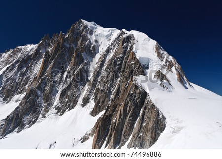 summer view of Mont Blanc massif and mer de glace glacier - stock photo