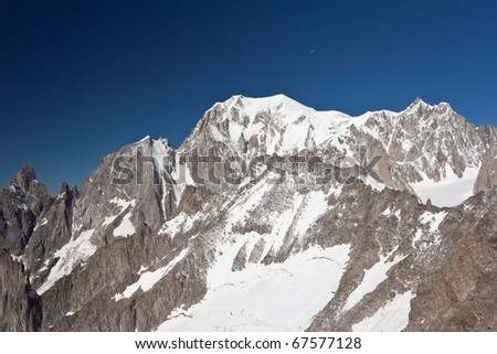 summer view of Mont Blanc mountain from Helbronner peak