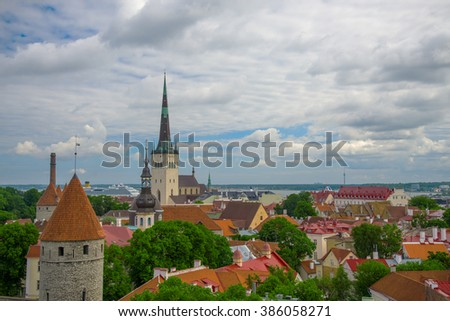 Summer view of old city. Estonia, Tallinn.