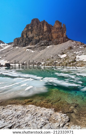 summer view of  Pisciadu lake and Sas de Lech peak in Sella mountain, sudtirol, Italy