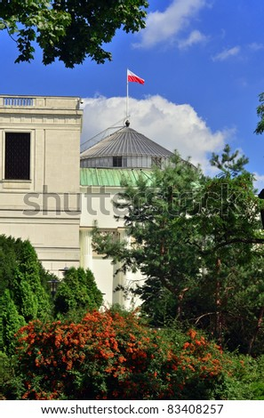 Summer view of polish parliament named seym in Warsaw . - stock photo