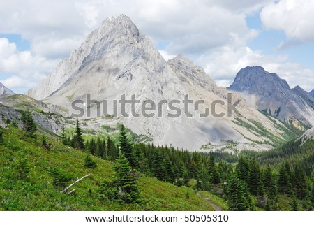 Summer view of rocky mountains and forests when hiking on burstall pass, kananaskis country, alberta, canada - stock photo